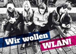 """Postkarte """"Wir wollen WLAN!"""" (Vorderseite)"""